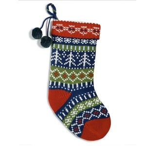 Holiday Lane Multi-color Knitted Stocking Ornament